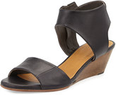 Coclico Kiss Leather Demi-Wedge Sandal, Black