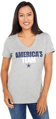 Dallas Cowboys Dallas Cowboys Nike Local Impact Tri-Blend V-Neck T-Shirt (Dark Grey Heather) Women's Clothing