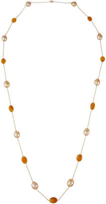"""BELPEARL 14k Yellow Sapphire and South Sea Pearl Necklace, 42""""L"""