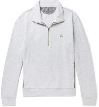 Brunello Cucinelli Panelled Cotton-Blend Jersey And Shell Half-Zip Sweatshirt