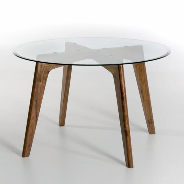 Am.pm. Kristal Walnut & Glass Round Dining Table (Diameter 130cm)