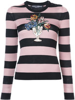 Dolce & Gabbana flower embroidered striped top