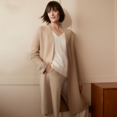 The White Company Coatigan with Cashmere, Camel, Extra Small