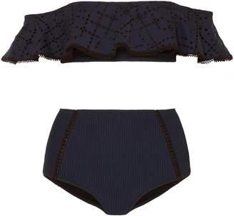 Jonathan Simkhai Off-the-shoulder Ruffled Broderie Anglaise And Seersucker Bandeau Bikini