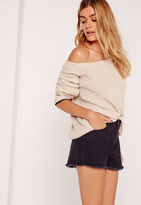 Missguided Tipped Trim Off Shoulder Sweater Nude