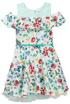 Beautees Off-the-Shoulder Floral Belted Dress (Big Girls)
