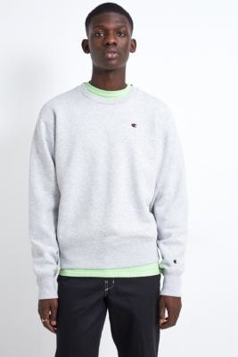 Champion UO Exclusive Small 'C' Logo Grey Crew Neck Sweatshirt - Grey L at Urban Outfitters