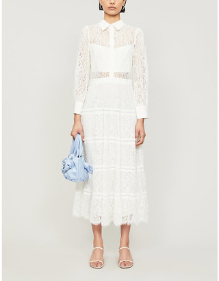 Alice + Olivia Anaya tiered lace maxi dress