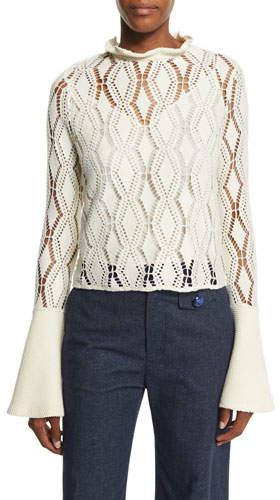 See by Chloe Bell-Sleeve Crochet Top, Winter White