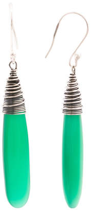 Made In India Sterling Silver Green Onyx Drop Earrings