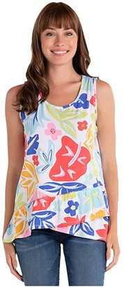 Fresh Produce Rainbow Blooms Fiona Tank Top (White) Women's Clothing