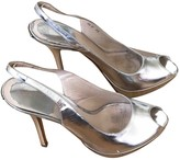 Prada Silver Leather Heels