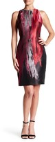 Carmen Marc Valvo Sleeveless Brocade Sheath Dress
