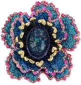 Betsey Johnson Gold-Tone Multi-Stone & Glitter Flower Pin