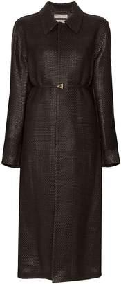 Bottega Veneta belted intrecciato woven coat