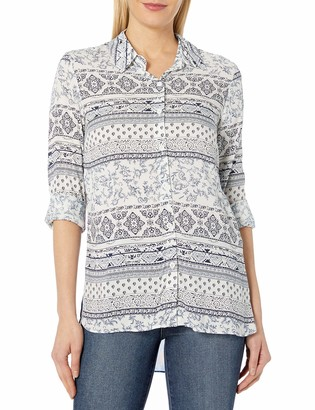 Tribal Women's Abstract Art High Low Blouse