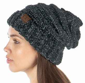 Funky Junque Exclusives Womens Beanie Oversized Slouchy Hat Ribbed Knit Warm Cap - Grey - One Size