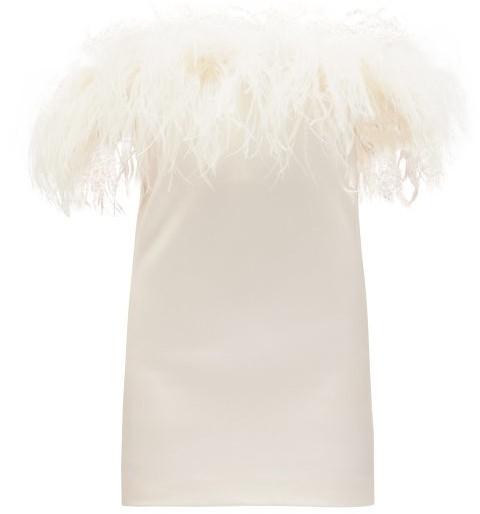 Saint Laurent Feather-trimmed Crepe Mini Dress - Womens - White