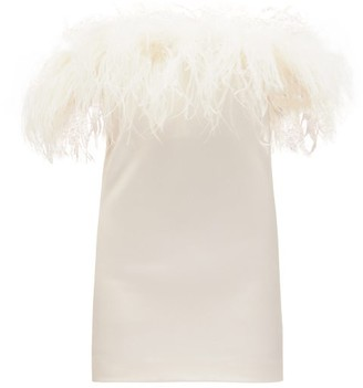 Saint Laurent Feather-trimmed Crepe Mini Dress - White