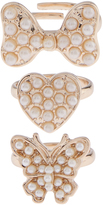 Monsoon 3x Pearly Butterfly Ring Set