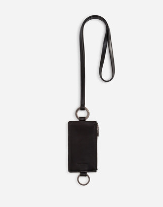 Dolce & Gabbana Horsehide Card Holder With Crossbody Strap And Heat-Stamped Logo