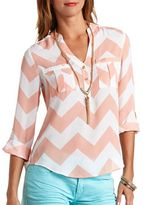 Charlotte Russe Chevron Print Button-Up Pullover Blouse