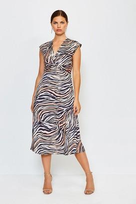 Karen Millen Print Twist Sleeveless Midi Dress