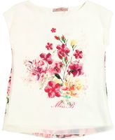 Miss Blumarine Floral Embellished Crepe & Chiffon Top