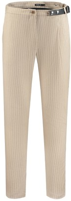Eva D. Side-Belt Trousers Beige Linen With Pinstripe