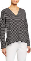 Eileen Fisher Striped V-Neck Organic Cotton-Blend Sweater