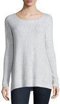 Soft Joie Kashani Boat-Neck Waffle-Knit Sweater, Porcelain/Light Gray