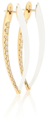 Melissa Kaye Cristina Large 18kt gold hoop earrings with diamonds