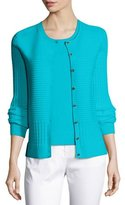 St. John Ottoman & Pointelle Knit Jewel Neck Cardigan, Laguna