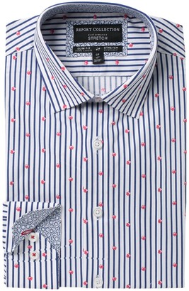 Report Collection Striped Floral Slim Fit Dress Shirt