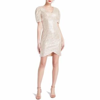 MACloth Women Puff Shoulder Short Sleeves V Neck Wrap Sequin Cocktail Dresses (28
