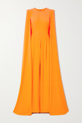 Alex Perry Lila Cape-effect Crepe Jumpsuit - Pastel orange