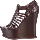 Vera Wang Leather Cage Wedge Sandals
