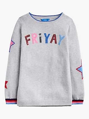 Joules Little Girls' Miranda Friyay Slogan T-Shirt, Grey
