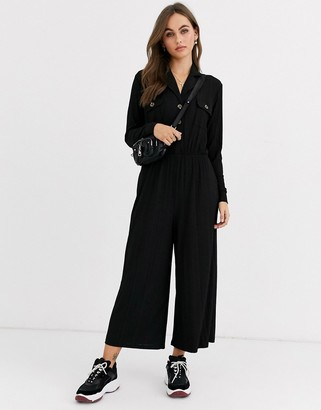ASOS DESIGN button detail shirt jumpsuit with long sleeve