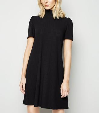 New Look Shirred Neck Puff Sleeve Swing Dress