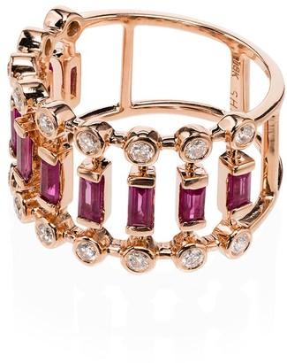 Shay 18kt rose gold Diamond Dot Dash ring