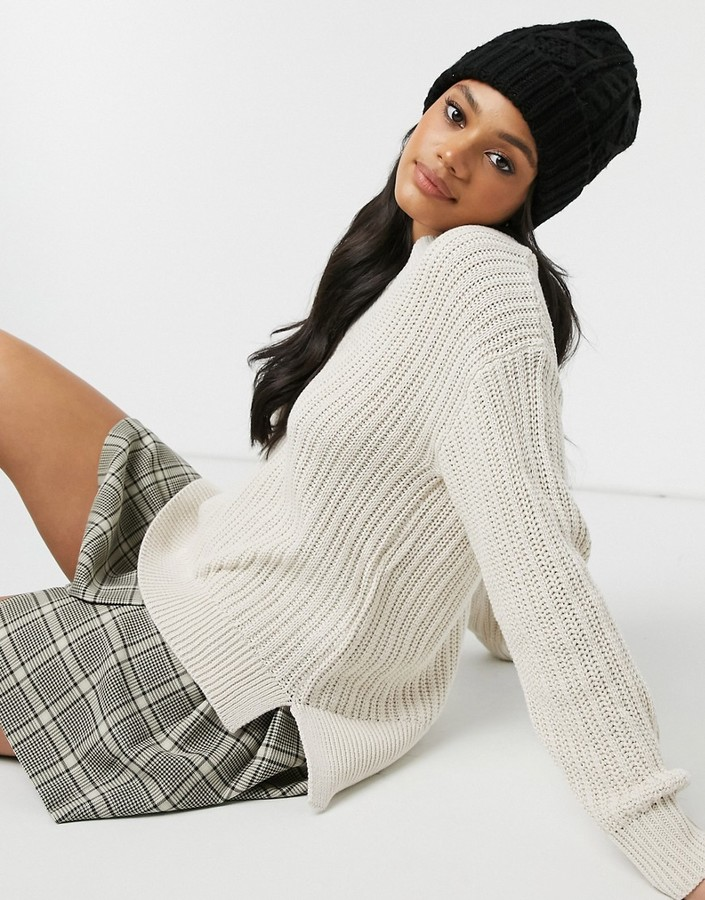 Pimkie thick cable knit v neck jumper in ecru