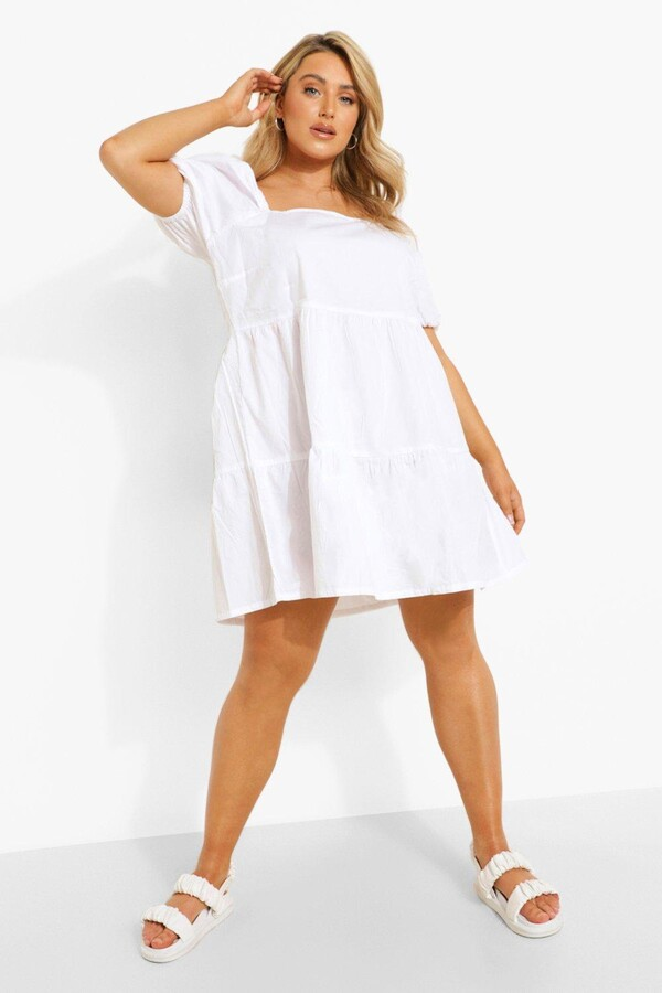 boohoo Plus Tiered Woven Smock Dress