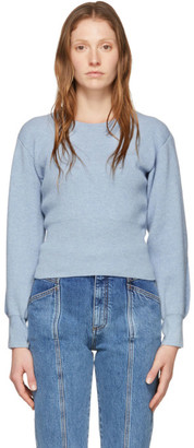 Stella McCartney Blue Cashmere Slashed Sleeve Crewneck Sweater