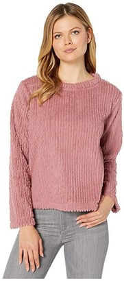Mod-o-doc Corded Faux Fur Long Sleeve Boxy Pullover (Mauve) Women's Clothing