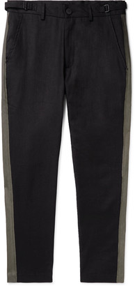 Isabel Benenato Black Slim-Fit Tapered Striped Linen And Cotton-Blend Trousers