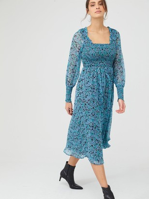 Very Woven Shirred Midi Dress Ditsy floral