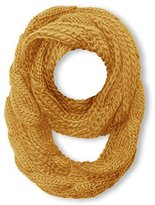 Peach Couture Chunky Warm Cable Knit Infinity Large Loop Wrap Scarf (Gold)