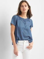 Gap Tencel® tulip-back embroidery top