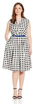 Ellen Tracy Women's Plus Size Belted Midi Printed Dress with Vneck